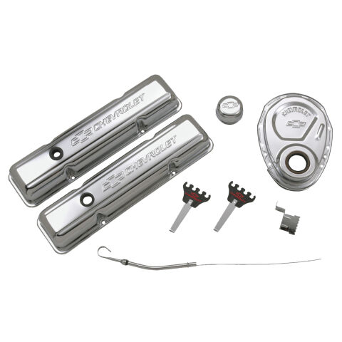 Engine Dress-Up Kit; Chrome with Stamped Chevy Logo; Fits SB Block Chevy Engines