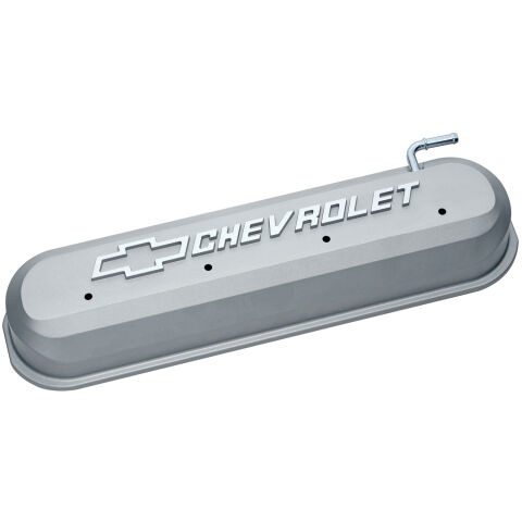 Engine Valve Covers; Tall Style; Die Cast; Gray with Bowtie Logo; LS Engines