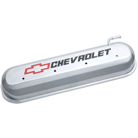Engine Valve Covers; Tall Style; Die Cast; Polished with Bowtie Logo; LS Engines