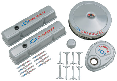 Engine Dress-Up Kit; Gray w/Blue Bowtie Logo; Fits SB Block Chevy Engines