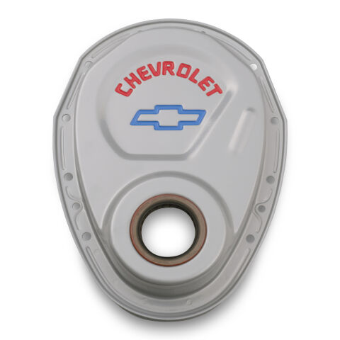 Timing Chain Cover; Gray; Steel; With Chevy and Bowtie Logo; For SB Chevy 69-91