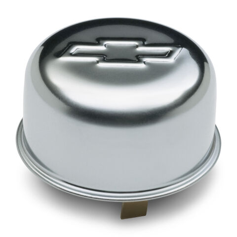Engine Oil Breather Cap; Push-On Style; 1.82 Hole; Embossed Bowtie Logo; Chrome