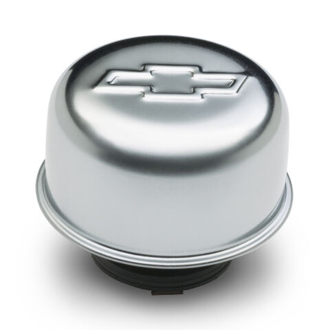 Valve Cover Breather Cap; Chrome; Twist-On Type; 3in. Diameter; With Bowtie Logo