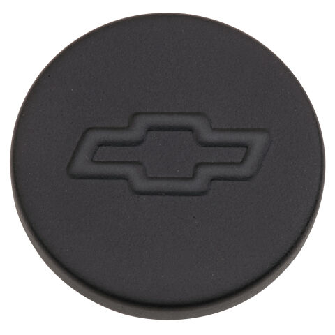 Engine Oil Filler Cap; Push-In Style; 1.22 Hole; Bowtie Logo; Black Crinkle