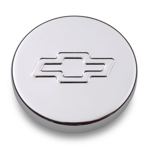 Engine Oil Filler Cap; Push-In Style; 1.22 Hole; Embossed Bowtie Logo; Chrome