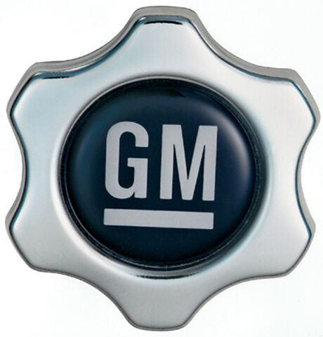 Engine Oil Filler Cap; Chevy Style Valve Cover Hole; White on Blue GM Logo