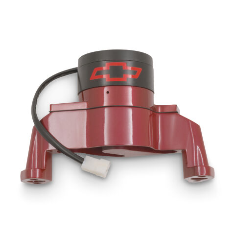 Electric Engine Water Pump; Aluminum; Red with Bowtie Logo; Fits SB Chevy