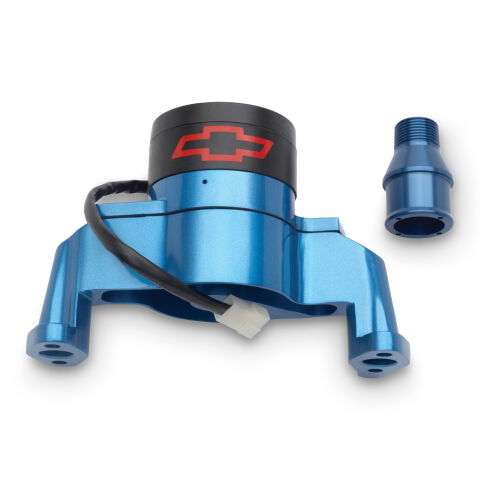 Electric Engine Water Pump; Aluminum; Blue with Bowtie Logo; Fits SB Chevy