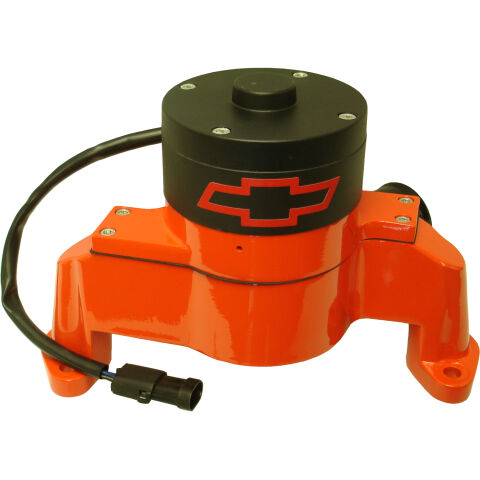 Electric Engine Water Pump; Aluminum; Orange with Bowtie Logo; Fits SB Chevy