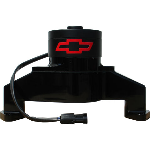 Electric Engine Water Pump; Aluminum; Black with Bowtie Logo; Fits BB Chevy