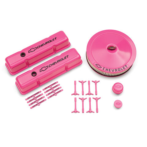 CHEVY SMALL BLOCK PINK DRESS UP KIT, BLACK BOWTIE EMBLEMS, BLACK LETTERING