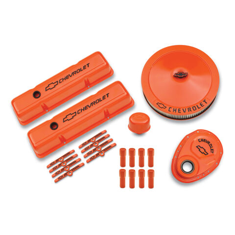 Engine Dress-Up Kit; Orange w/Black Bowtie Logo; Fits SB Block Chevy Engines