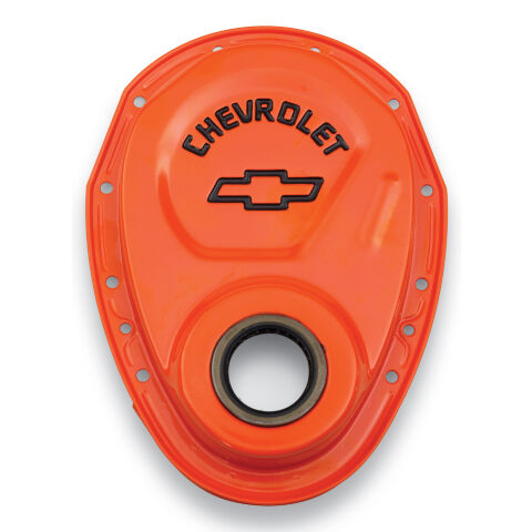 Timing Chain Cover; Orange; Steel; With Chevy Bowtie Logo; SB Chevy 69-91