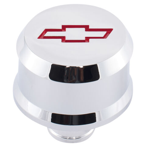 Slant-Edge Aluminum Breather Cap; Recessed Red Bowtie Emblem; Push-In; Chrome