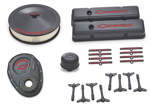 Engine Dress-Up Kit; Shark Gray; Red Emblems; Fits SB Chevy Gen 1 V8 Engines