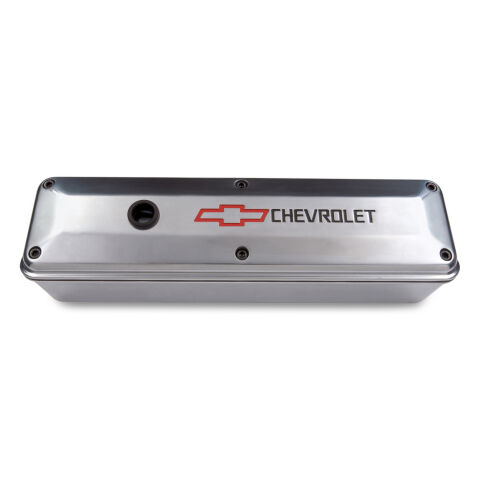 Engine Valve Cover; 2-Piece Tall Style; Die Cast; Polish w/Bowtie Logo; SB Chevy