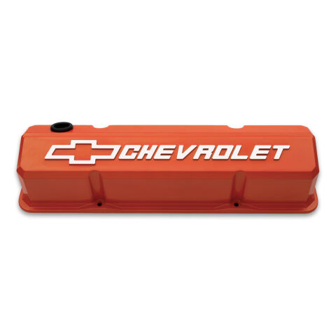 Valve Covers; Slant-Edge Tall; Die Cast; Orange w/ Raised Bowtie Logo; SB Chevy