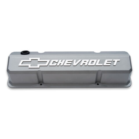 Valve Covers; Slant-Edge Tall; Die Cast; Gray w/Raised Bowtie Logo; For SB Chevy