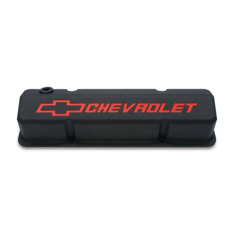 Valve Covers; Slant-Edge Tall; Die Cast; Black w/Recessed Bowtie Logo; SB Chevy