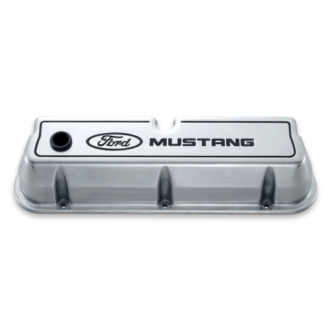 Engine Valve Covers; Tall Style; Die Cast; Polished with Mustang Logo; SB Ford