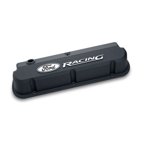 Valve Covers; Slant-Edge Tall; Die Cast; Black with Raised Ford Logo; SB Ford