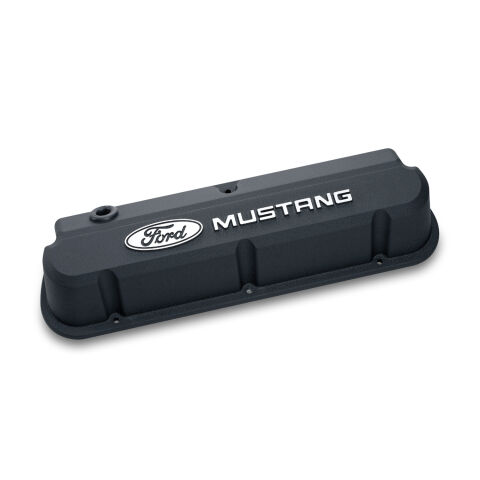Valve Covers; Slant-Edge Tall; Die Cast; Black with Raised Mustang Logo; SB Ford