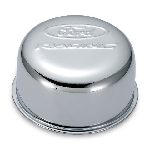 Valve Cover Breather Cap; Chrome; Twist-On Type; 3in. Diameter; With Ford Logo