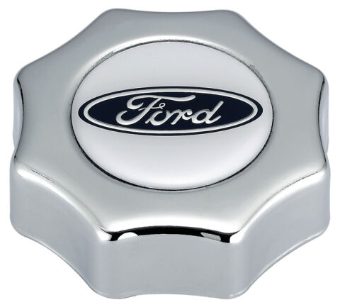 Engine Oil Filler Cap; Screw-In Type; Blue Oval Ford Logo; Chrome