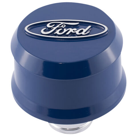 Slant-Edge Aluminum Breather Cap; Raised Oval Emblem; Push-In; Ford Blue