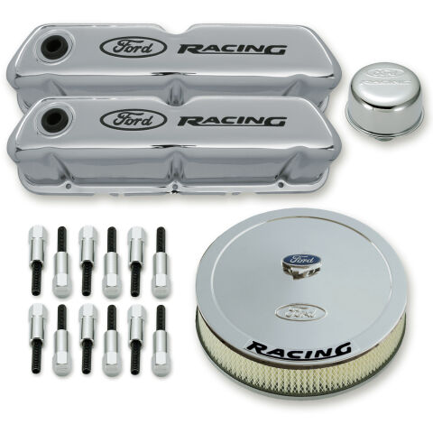 Engine Dress-Up Kit; Chrome w/Black Ford Racing Logo; Fits SB Ford Engines