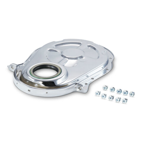 Engine Timing Chain Cover; Chrome; Steel; Fit BB Chevy; Crankshaft Seal Included