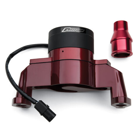 Electric Engine Water Pump; Aluminum; Red Powder Coat; Fits SB Chevy Engines