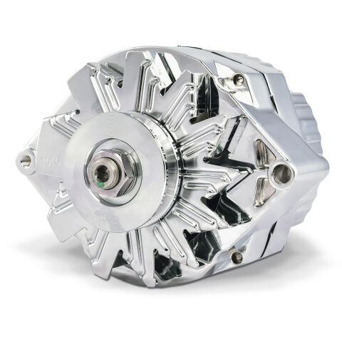 Alternator; 140 AMP; GM 1 Wire Style; Machined Pulley; Chrome Finish; 100% New