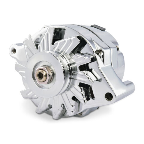 Ford Alternator; 100 AMP; 1-Wire; Machined Pulley; Chrome; 100% New