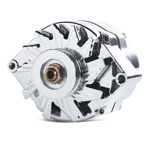 Alternator; 80 AMP; GM 1 Wire Style; Machined Pulley; Chrome Finish; 100% New