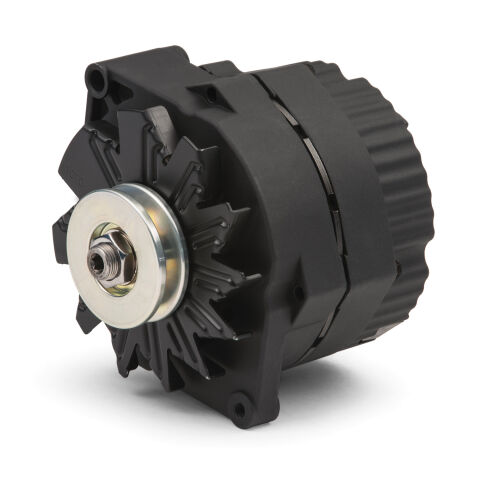 Alternator; 100 AMP; GM 1-Wire Style; V-Belt Pulley; Black Crinkle; 100% New