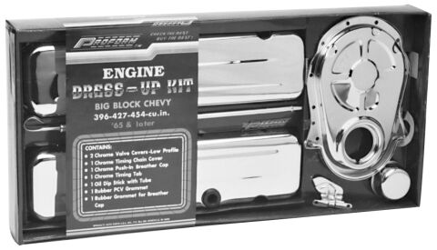 Engine Dress-Up Kit; Chrome Steel; Fits Big Block Chevy Engines