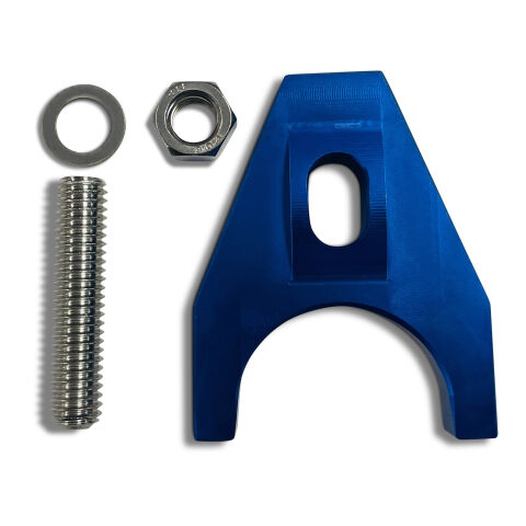 Engine Distributor Clamp; Heavy Duty; Blue Finish; Fits Chevy V8/V6 Engines