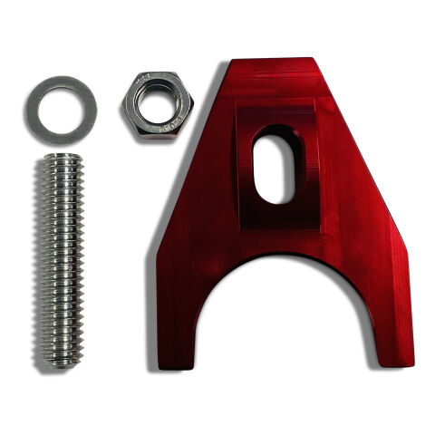 Engine Distributor Clamp; Heavy Duty; Red Finish; Fits Chevy V8/V6 Engines