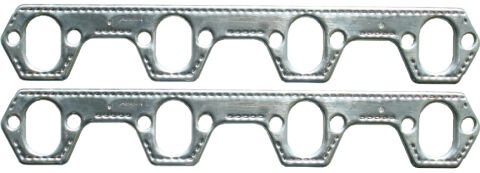 Engine Header Gasket Set; Small Block Ford; Aluminum Material; Round Port; Pair