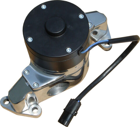 Electric Engine Water Pump; Aluminum; Polished Finish; Fits SB Ford Engines