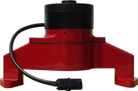 Electric Engine Water Pump; Aluminum; Red Powder Coat; Fits BB Chevy Engines
